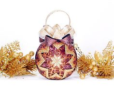 Christmas Quilted Ornament - Gold and Bronze Snowflake. USD CreationsByAngel, via Etsy. Quilted Christmas Ornaments, Fabric Ornaments, Ball Ornaments, Winter Christmas, Christmas Tree Ornaments, Christmas Decorations, Christmas Stuff, Christmas Ideas, Xmas