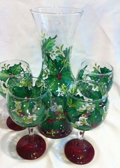 HOLLY BERRY WINE GLASS SET of 4 & CARAFE – www.thepaintedflower