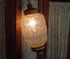 Hanging Glass and Brass Swag Lamp, Lovely, New Cord and Switch, 7-foot Chain on Etsy, $60.00