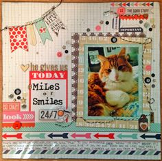 craftysuz creating everyday layout using Teresa Collins Daily Stories & a mix of embellishments