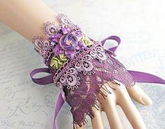 Purple Lace Cuff Upcycled Vintage Lace Wrist by LaVieilleLune Fabric Bracelets, Lace Bracelet, Cuff Bracelets, Lace Jewelry, Textile Jewelry, Jewellery, Bridal Jewelry, Upcycled Vintage, Vintage Lace