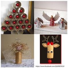 EXC IDEA!! Detalles de Navidad reciclado  Great Xmas decorating ideas using tp rolls and tin cans