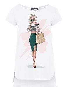 Girl Print Asymmetrical T-Shirt In White Short Sleeve fobya European Fashion, Timeless Fashion, Printed Tees, Online Shopping Clothes, Tshirts Online, T Shirts, Summer Fun, Summer Outfits, Blouses