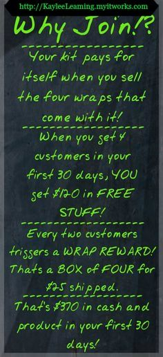 BECOME AN IT WORKS DISTRIBUTOR and live debt free...http://kaylambrake.myitworks.com I am excited that you found me. Please tell me how I can help you?
