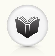 Open Book icon on white round vector button vector art illustration