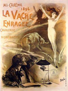 """Affiche du Moulin Rouge """"La Vache Enragée"""" par French School - Poster of the Moulin Rouge """"La Vache Enragée"""" by French School - 1896 #moulinrouge #poster #affiche #illustration"""