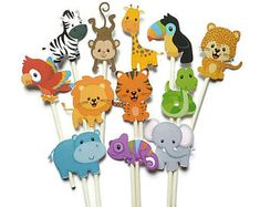 This Safari cupcake toppers - set of 12 jungle cupcake toppers, jungle theme safari theme is just one of the custom, handmade pieces you'll find in our paper & party supplies shops. Safari Theme, Jungle Theme, Jungle Cupcakes, Meant To Be Yours, Jamel, Lollipop Sticks, Leaf Coloring, Cupcake Toppers, Birthday Party Themes