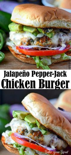 Jalapeno Pepper Jack Chicken Burger-Butter Your Biscuit - - Jalapeno Pepper jack Chicken Burger is juicy, bursting with flavor. A great twist on burger night. Grilled Chicken Burgers, Ground Chicken Burgers, Beef Burgers, Veggie Burgers, Bacon Jam Burger, Yummy Burger, Grilling Burgers, Burger Food, Cooking Recipes