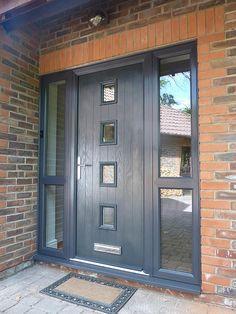 Modern Windows And Front Doors Ideas Grey Upvc Doors, Grey Front Doors, Front Doors With Windows, Grey Windows, Front Door Porch, Porch Doors, House Front Door, Entrance Doors, Bungalow Hallway Ideas