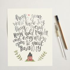 Irish Blessing Print, Watercolor Quote Print, May Your Walls Know Joy, Typography Brush Calligraphy, Wedding Shower, House Warming Gift by OffTheWallHome on Etsy https://www.etsy.com/listing/294757001/irish-blessing-print-watercolor-quote