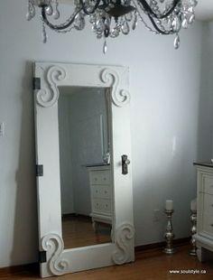 mirror in an old door