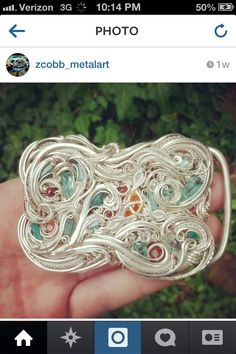 I chose this wire warped belt buckle to show off one of my favorite stone setting designs