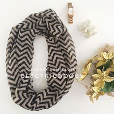 Black And Tan Chevron Infinity Scarf
