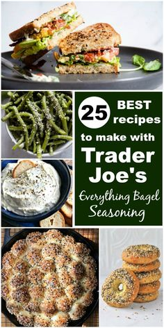Trader Joe's Everything but the Bagel Seasoning is the perfect blend of spices and it adds a delicious flavor and crunch to so many recipes like avocado toast, cream cheese spreads, hummus, salad, popcorn and more. Side Dish Recipes, Pork Recipes, New Recipes, Cooking Recipes, Healthy Recipes, Healty Meals, Group Recipes, Recipies, Popular Recipes