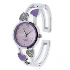 Armbanduhr für Damen mit rundem Zifferblatt und Herzdekoration Edelstahl