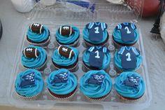 @Carolina Panthers Carolina Panthers cupcakes Carolina Panthers Football, Clemson, Kids Football Parties, Batgirl Party, Super Bowl 2016, Football Baby Shower, Football Cupcakes, Panther Nation, Cupcake Decorations