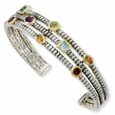 Sterling Silver with 14k 1.74tw Gemstone Cuff Bracelet Jewelrypot. $438.99