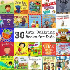 30 Anti-Bullying Books for Kids via /natlubrano/ on Housewife Books About Bullying, Bullying Prevention, Character Education, Character Development, Kids Education, Library Books, Kid Books, Fall Books, School Counselor