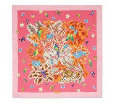 Mascada estampada con gráficos de flores y pájaros en 100% seda. Fucsia Scarf Design, Hermes, Scarves, Create, Inspiration, Hot Pink, Silk, Mascaras, Illustrations