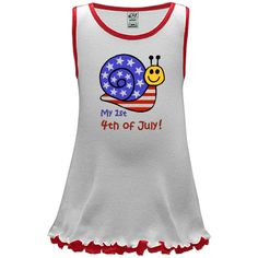 First 4th of July t-shirts and apparel feature adorable patriotic caterpillar with stars and stripes.  Great fun! This dress,  $15.99 - Customizable -  patriotic-shirts.com