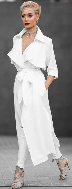 #summer #trending #outfits |   White Long Trench + Grey Heels