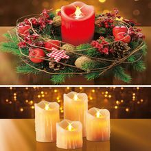 Weihnachtskranz und LED- Echtwachskerzen
