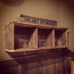 Diy helmet rack garage design pinterest helmets for Barn wood salvage companies