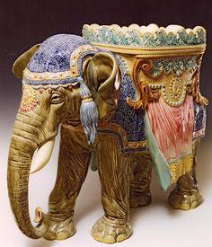 Majolica Elephant by Choisy-le-Roi