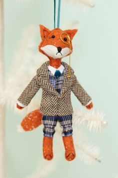 A Wilbury Animal Ornament.a nattily dressed fox. Fox Ornaments, Unique Christmas Ornaments, Christmas Crafts, Christmas Decorations, Winter Christmas, Christmas Time, Little Presents, Holiday Gift Guide, Holiday Ideas
