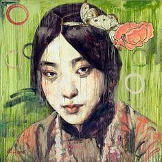 Visage VII, c. 2006, Oil on canvas, h: 167.6 x w: 167.6 cm, by Hung Liu
