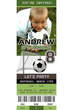 """Soccer """"ticket"""" personalized party invitation"""