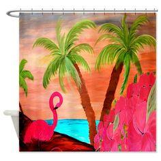 flamingo bathroom decor | Art Gifts  Art Bathroom Accessories  Décor  Flamingo in Paradise ...