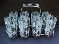 Libbey Glass - Tumblers with Silver Rim Gray White Leaves - Set of 8 with Chrome…