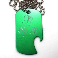 "MLP Fluttershy Green Pendant With 30"" Chain Dog Tag Aluminum Bottle Opener EDG-0286"