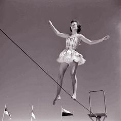 vintage tightrope walker Trapeze walker at Circus Girl University of Florida March 1952 Photo Old Circus, Circus Acts, Night Circus, Circus Train, Pantomime, Arte Punch, Vintage Circus Performers, Cirque Vintage, Le Clown