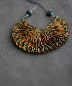 """Custom piece with an excerpt from D.H. Lawrence's poem """"Fidelity"""" and turquoise since ol' D.H. and I both love New Mexico.  Made by the talented Eva of Tinctory"""