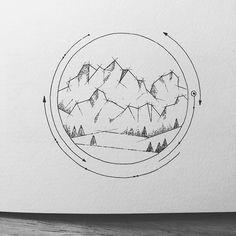 Mountain Drawing, Mountain Tattoo, Circle Drawing, Line Drawing, Cute Drawings, Pencil Drawings, Doodle Art, Art Day, Insta Art