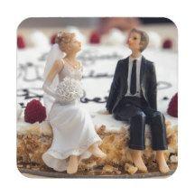 Cute Bride & Groom On White Cake Coaster Drink Coasters, Engagements, Bride Groom, Parties, Entertaining, Weddings, Celebrities, Cake, Amazing