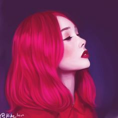 Realistic Drawing Design Shades of red by Hiba-tan on DeviantArt - Hiba Tan, Realistic Drawings, Face Drawings, Beautiful Fantasy Art, Anime Hair, Digital Art Girl, Anime Fantasy, Dream Hair, Shades Of Red