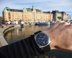 Photo : #watchoftheday by Hubert Agency #stockholm #watch #briston #clubmaster #vintage #steel #chronograph #black dial