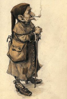 Old halfling wearing a soft pointed cap, long buttoned coat, and buckled shoes, holding a pipe in his teeth, and carrying a walking stick and knapsack.