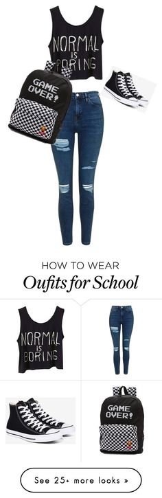 """School"" by liviabudzakova-lb on Polyvore featuring Topshop, Converse and Vans"