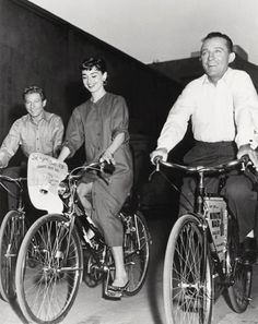 Danny Kaye, Bing Crosby, and Audrey Hepburn biking. Nothing you can't love about this photo