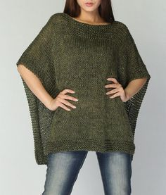 Hand knitted Poncho/ capelet eco cotton poncho in Fall green
