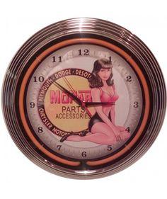Bettie's Diner Alway Open Neon Clock Red