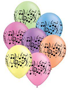 """Asst Neon Music Notes 11"""" Latex Balloons 25pk"""