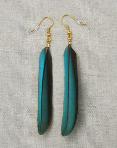 These earrings are handmade using Blue Turquoise Kingfisher feathers and can be customized to have either Bronze or Gunmetal black Ear wires.