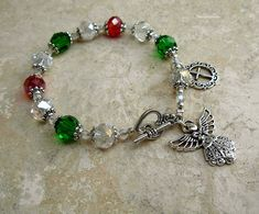 Austrian Crystal Italian Colore Antique Silver Guardian Angel Rosary Bracelet