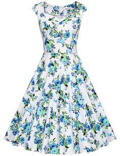 Amazon.com: MUXXN Women's 1950s Retro Vintage Cap Sleeve Party Swing Dress…