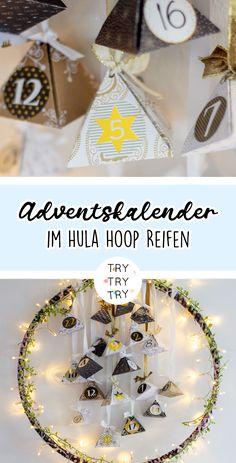 Hula-Hoop-Reifen Adventskalender Winter Christmas, Christmas Crafts, Christmas Bulbs, Xmas, Recipe For Mom, Hula Hoop, Diy And Crafts, December, Presents